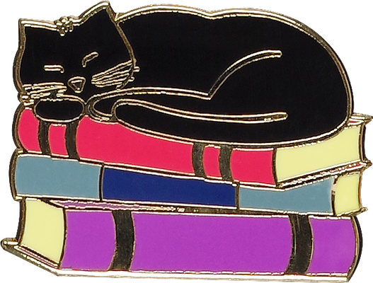 Cat with Books Hard Enamel Pin (Cloisonne Pin) Cover Image