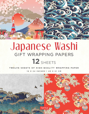 Japanese Washi Gift Wrapping Papers 12 Sheets: High-Quality 18 X 24 Inch (45 X 61 CM) Wrapping Paper Cover Image