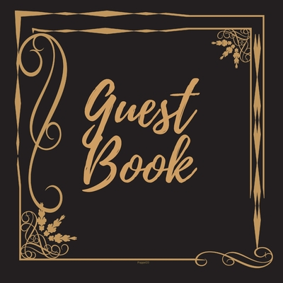 Guest Book - Gold Frame #3 For any occasion Light Green Color Pages 8.5 x 8.5 Inches 82 pages Cover Image