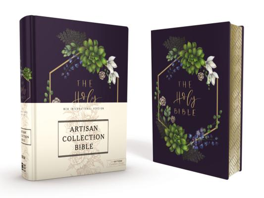 Niv, Artisan Collection Bible, Cloth Over Board, Navy Floral, Designed Edges Under Gilding, Red Letter Edition, Comfort Print Cover Image
