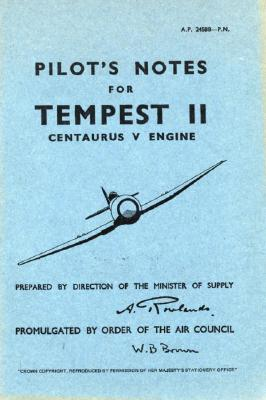 Hawker Tempest II - Pilot's Notes - Op Cover Image