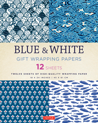 Blue & White Gift Wrapping Papers 12 Sheets: High-Quality 18 X 24 Inch (45 X 61 CM) Wrapping Paper Cover Image