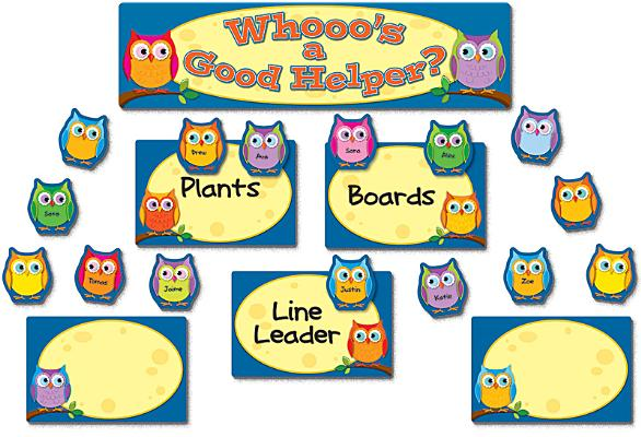 Colorful Owls Job Assignment Mini Bulletin Board Set Cover Image