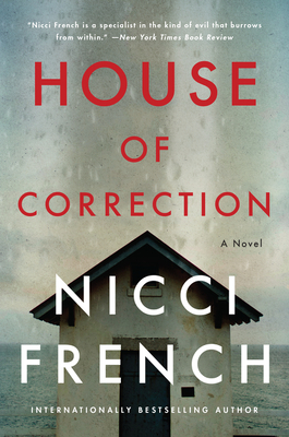 Book cover: House of Correction. Beneath a cloudy sky and on the edge of a vast body of water stands a small shack.