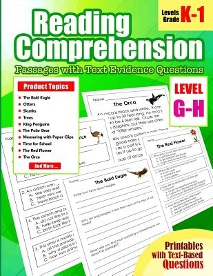 Reading Comprehension Passages and Questions for Guided: Level G and H Guided Reading Passages with Text Evidence Questions for Kindergarten, 1st Grad Cover Image