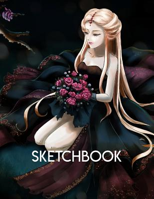 Sketchbook: Anime style cover, sketchbook for Drawing, Coloring, Sketching and Doodling manga, 8.5 x 11 110 pages Cover Image