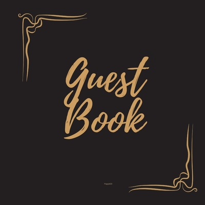 Guest Book - Gold Frame #1 For any occasion Light Green Color Pages 8.5 x 8.5 Inches 82 pages Cover Image