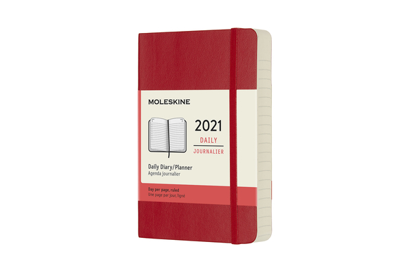 Moleskine 2021 Daily Planner, 12M, Pocket, Scarlet Red, Soft Cover (3.5 x 5.5) Cover Image