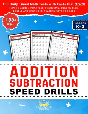 Addition Subtraction Speed Drills: 100 Daily Timed Math Tests with Facts that Stick, Reproducible Practice Problems, Digits 0-20, Double and Multi-Dig Cover Image