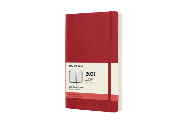 Moleskine 2021 Daily Planner, 12M, Large, Scarlet Red,  Soft Cover (5 x 8.25) Cover Image