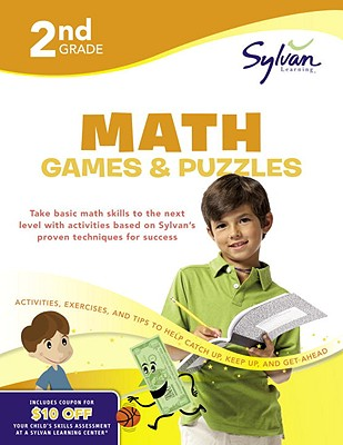 Second Grade Math Games & Puzzles (Sylvan Workbooks) Cover