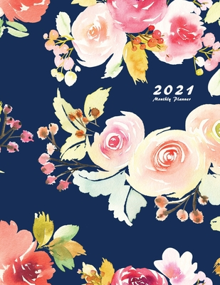 2021 Monthly Planner: 2021 Planner Monthly 8.5 x 11 with Beautiful Coloring Pages (Volume 2) Cover Image