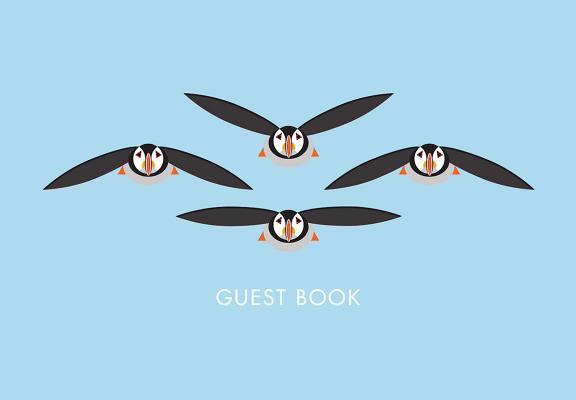 I Like Birds Flying Puffins Guest Book Cover Image