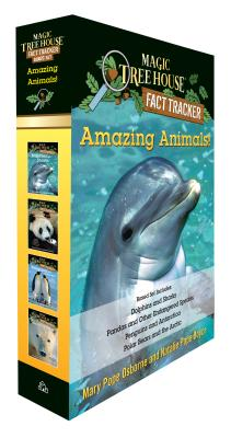 Amazing Animals! Magic Tree House Fact Tracker Boxed Set: Dolphins and Sharks; Polar Bears and the Arctic; Penguins and Antarctica; Pandas and Other Endangered Species (Magic Tree House (R) Fact Tracker) Cover Image