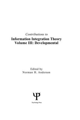 Contributions to Information Integration Theorydevelopmental Volume 3 Cover Image