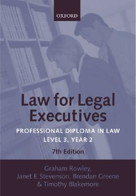 Law for Legal Executives: Professional Diploma in Law: Level 3, Year 2 Cover Image
