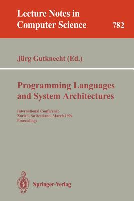 Cover for Programming Languages and System Architectures