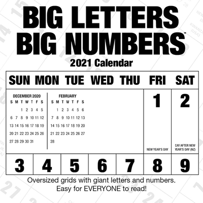 Cal 2021- Big Letters Big Numbers Wall Cover Image