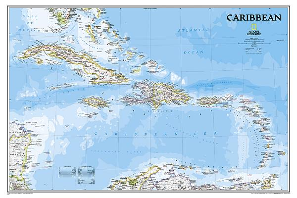 National Geographic: Caribbean Classic Wall Map - Laminated (Poster Size: 36 X 24 Inches) Cover Image