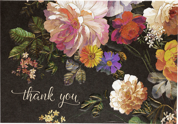 Midnight Floral Thank You Notes (Stationery, Note Cards, Boxed Cards) Cover Image