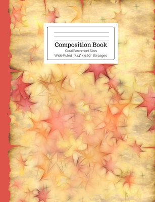 Composition Book Coral Parchment Stars Wide Ruled Cover Image