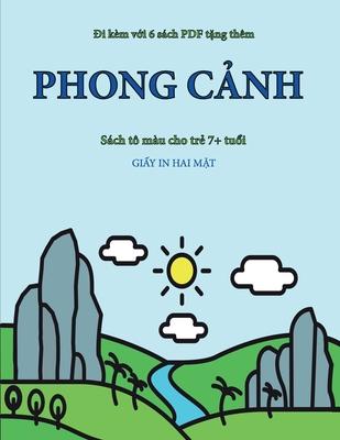 Sách tô màu cho trẻ 7+ tuổi (Phong cảnh ): Cuốn sách này có 40 trang tô màu không gây căng thẳng nhằm gi̐ Cover Image