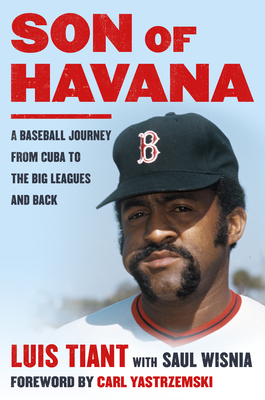 cover art for Son of Havana, a young portrait photo of Luis Tiant against a sky blue background