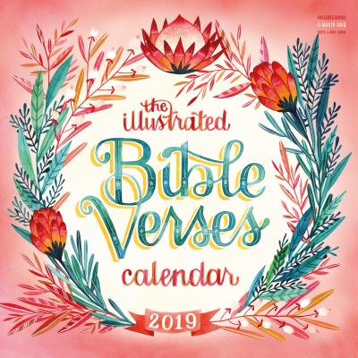 Illustrated Bible Verses Wall Calendar 2019 Cover Image