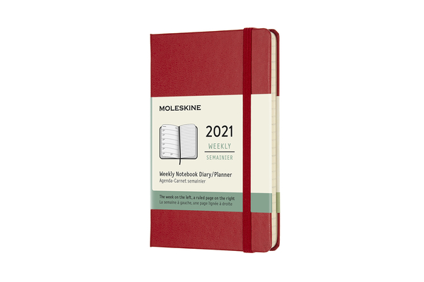 Moleskine 2021 Weekly Planner, 12M, Pocket, Scarlet Red, Hard Cover (3.5 x 5.5) Cover Image