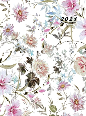 2021 Monthly Planner: 2021 Planner Monthly 8.5 x 11 with Beautiful Coloring Pages (Volume 5 Hardcover) Cover Image