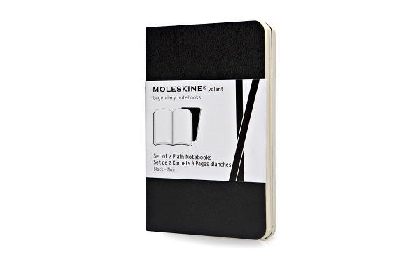 Moleskine Volant Notebook (Set of 2 ), Extra Small, Plain, Black, Soft Cover (2.5 x 4) (Volant Notebooks) Cover Image