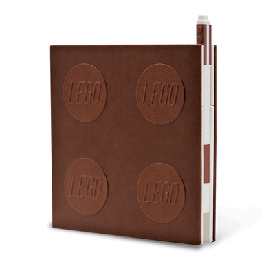 Lego 2.0 Locking Notebook with Gel Pen - Brown Cover Image