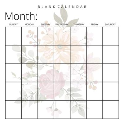 Blank Calendar: Pretty Flowers, Undated Planner for Organizing, Tasks, Goals, Scheduling, DIY Calendar Book Cover Image