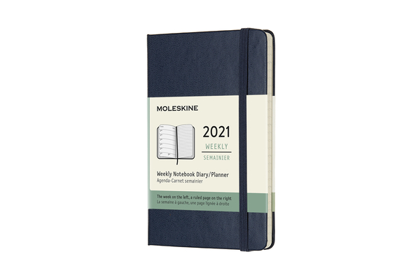 Moleskine 2021 Weekly Planner, 12M, Pocket, Sapphire Blue, Hard Cover (3.5 x 5.5) Cover Image