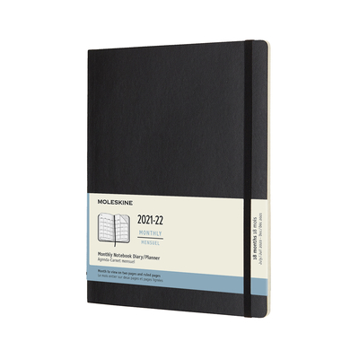 Moleskine 2021-2022 Monthly Planner, 18M, Extra Large, Black, Soft Cover (7.5 x 10) Cover Image