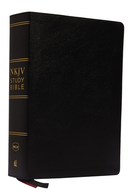 NKJV Study Bible, Premium Bonded Leather, Black, Red Letter Edition, Comfort Print: The Complete Resource for Studying God's Word Cover Image