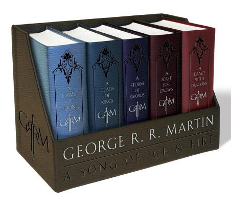 George R. R. Martin's A Game of Thrones Leather-Cloth Boxed Set (Song of Ice and Fire Series): A Game of Thrones, A Clash of Kings, A Storm of Swords, A Feast for Crows, and A Dance with Dragons (A Song of Ice and Fire) Cover Image