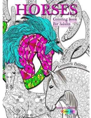 HORSES Coloring book for adults: Geometric patterns Cover Image