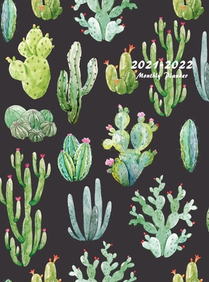 2021-2022 Monthly Planner: Large Two Year Planner with Beautiful Cactus Cover (Hardcover) Cover Image