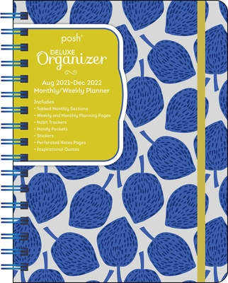 Posh: Deluxe Organizer 17-Month 2021-2022 Monthly/Weekly Planner Calendar: Blue Leaves Cover Image