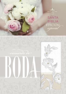 RVR 1960 Biblia Recuerdo de Boda, blanco/lino/encaje símil piel Cover Image