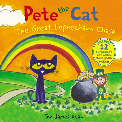 Pete the Cat: The Great Leprechaun Chase: Includes 12 St. Patrick's Day Cards, Fold-Out Poster, and Stickers! Cover Image