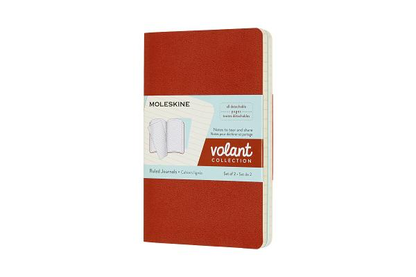 Moleskine Volant Journal, Pocket, Ruled, Coral Orange/Aquamarine Blue (3.5 x 5.5) Cover Image