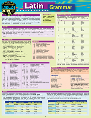 Latin Grammar: A Quickstudy Language Reference Guide Cover Image