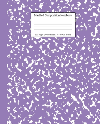 Marbled Composition Notebook: Lavender Marble Wide Ruled Paper Subject Book Cover Image