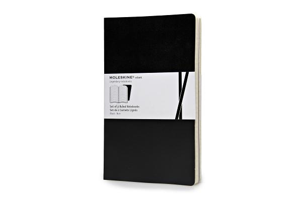 Moleskine Volant Notebook (Set of 2 ), Large, Ruled, Black, Soft Cover (5 x 8.25) (Volant Notebooks) Cover Image