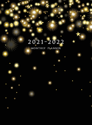 2021-2022 Monthly Planner: Large Two Year Planner (Christmas Gold Snowflakes Hardcover) Cover Image