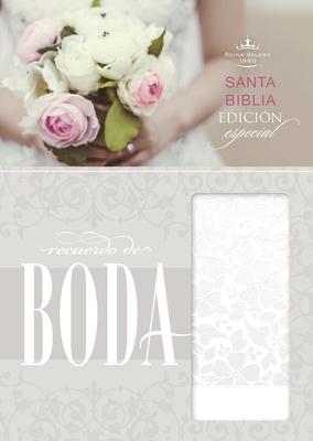 RVR 1960 Biblia Recuerdo de Boda, blanco floral símil piel Cover Image
