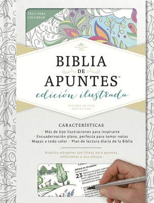 RVR 1960 Biblia de apuntes, edición ilustrada, blanco en tela para colorear Cover Image