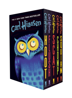 Hiaasen 5-Book Trade Paperback Box Set: Hoot; Flush; Scat; Chomp; Squirm cover